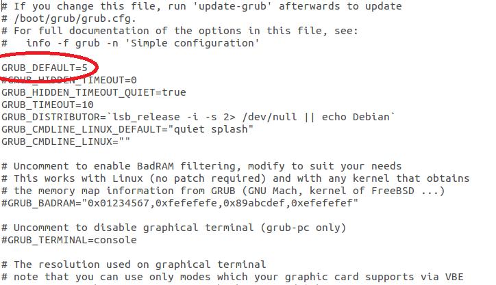 Cambiando el arranque por defecto en Ubuntu